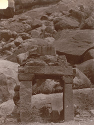 Ruined temple at foot of hill, Bharauli, Jhansi District